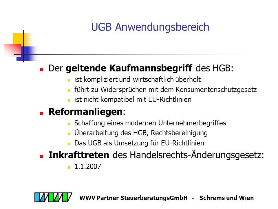 WWV Partner SteuerberatungsGmbH - Schrems und Wien Das neue Unternehmensgesetzbuch (UGB)