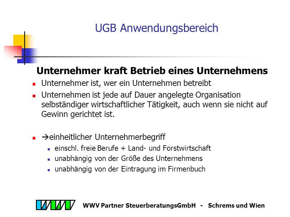 WWV Partner SteuerberatungsGmbH - Schrems und Wien UGB Anwendungsbereich Wer ist Unternehmer? Unternehmer kraft Betrieb eines Unternehmens Unternehmer