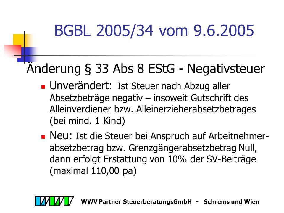 WWV Partner SteuerberatungsGmbH - Schrems und Wien BGBL 2005/34 vom 9.6.2005 Änderung § 33 Abs 8 EStG - Negativsteuer Unverändert: Ist Steuer nach Abzug aller Absetzbeträge negativ – insoweit Gutschrift des Alleinverdiener bzw.