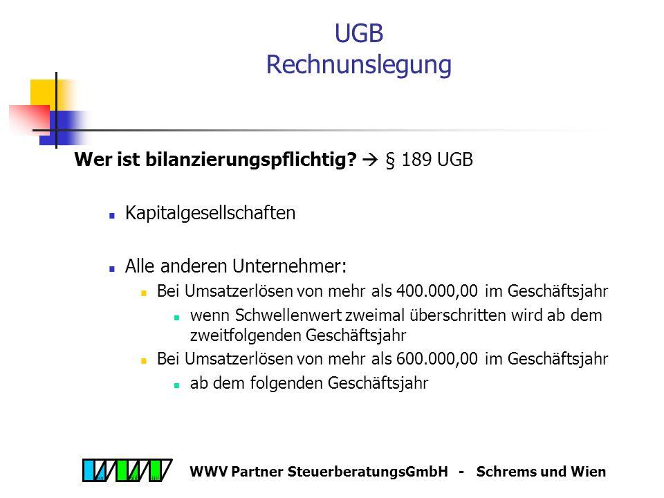 WWV Partner SteuerberatungsGmbH - Schrems und Wien UGB Personengesellschaften Name Offene Gesellschaft (OG), Kommanditgesellschaft (KG) Übergangsrecht