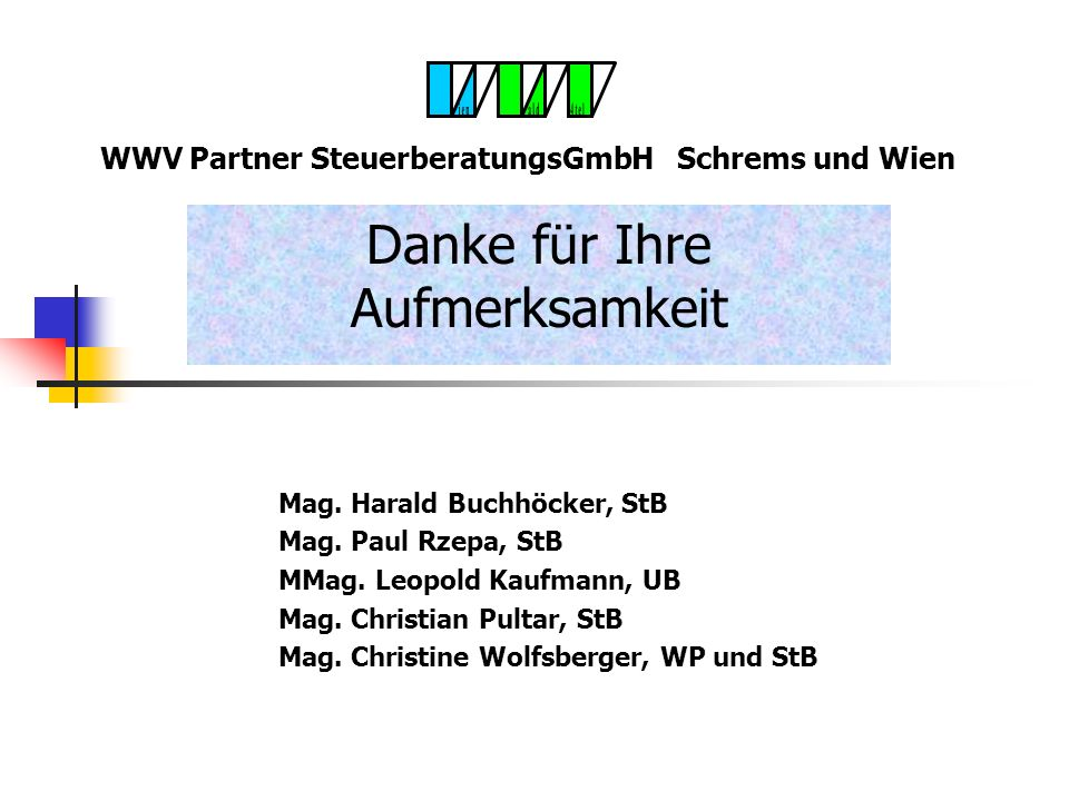 WWV Partner SteuerberatungsGmbH - Schrems und Wien UGB Rechnunslegung Ausnahmen Freie Berufe Land- und Forstwirte Überschussrechner nach § 2 Abs 4 Zi
