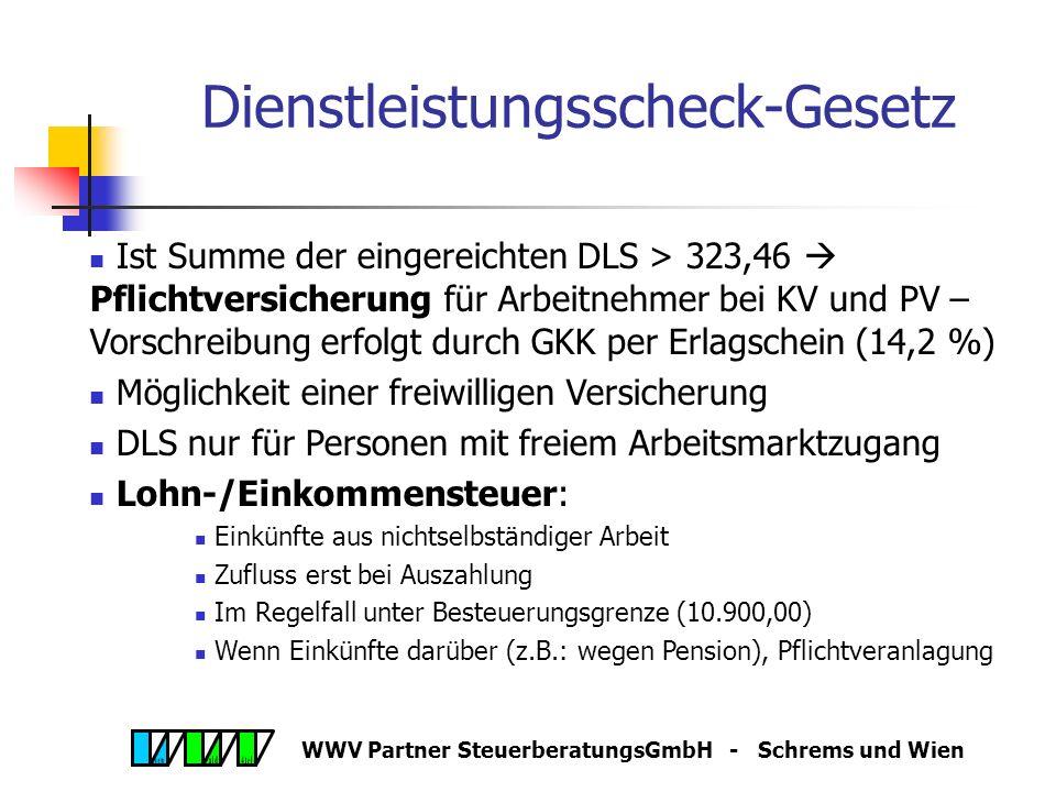 WWV Partner SteuerberatungsGmbH - Schrems und Wien Dienstleistungsscheck-Gesetz Ist Summe der eingereichten DLS > 323,46  Pflichtversicherung für Arbeitnehmer bei KV und PV – Vorschreibung erfolgt durch GKK per Erlagschein (14,2 %) Möglichkeit einer freiwilligen Versicherung DLS nur für Personen mit freiem Arbeitsmarktzugang Lohn-/Einkommensteuer: Einkünfte aus nichtselbständiger Arbeit Zufluss erst bei Auszahlung Im Regelfall unter Besteuerungsgrenze (10.900,00) Wenn Einkünfte darüber (z.B.: wegen Pension), Pflichtveranlagung