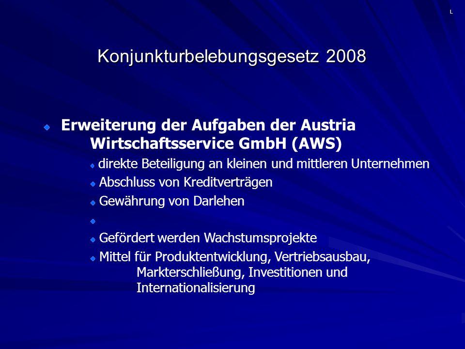 Konjunkturbelebungsgesetz 2008 Erweiterung der Aufgaben der Austria Wirtschaftsservice GmbH (AWS) direkte Beteiligung an kleinen und mittleren Unternehmen Abschluss von Kreditverträgen Gewährung von Darlehen Gefördert werden Wachstumsprojekte Mittel für Produktentwicklung, Vertriebsausbau, Markterschließung, Investitionen und Internationalisierung L