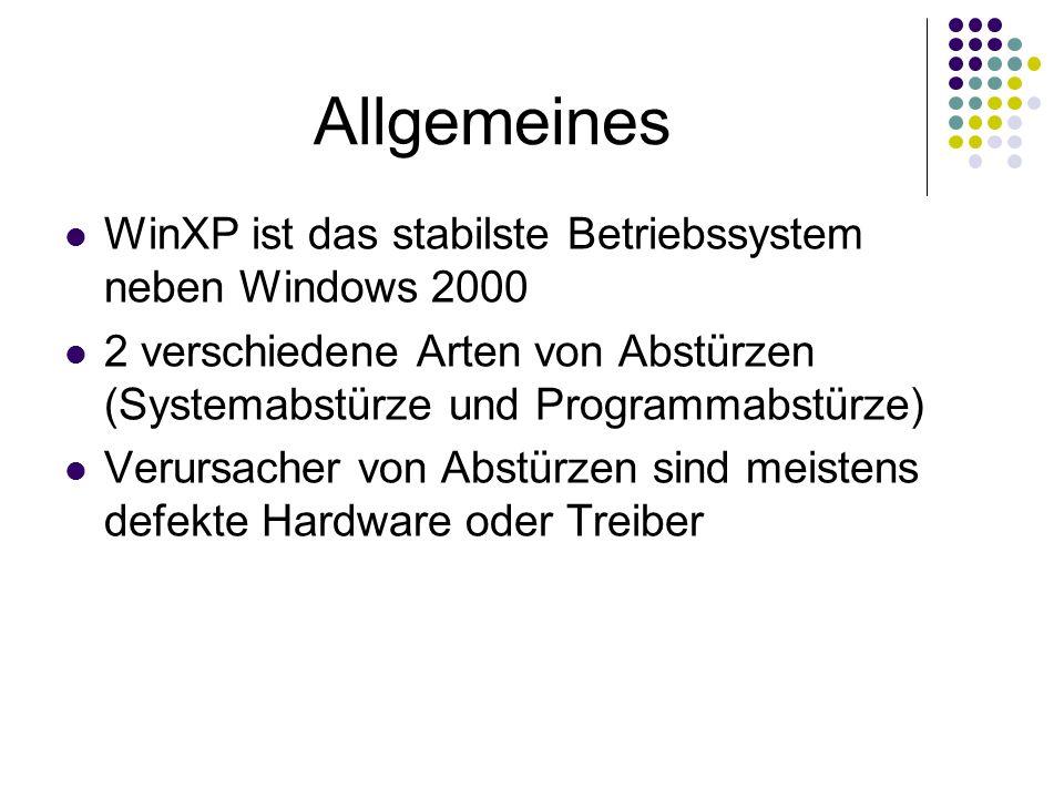 Allgemeines WinXP ist das stabilste Betriebssystem neben Windows 2000 2 verschiedene Arten von Abstürzen (Systemabstürze und Programmabstürze) Verursacher von Abstürzen sind meistens defekte Hardware oder Treiber