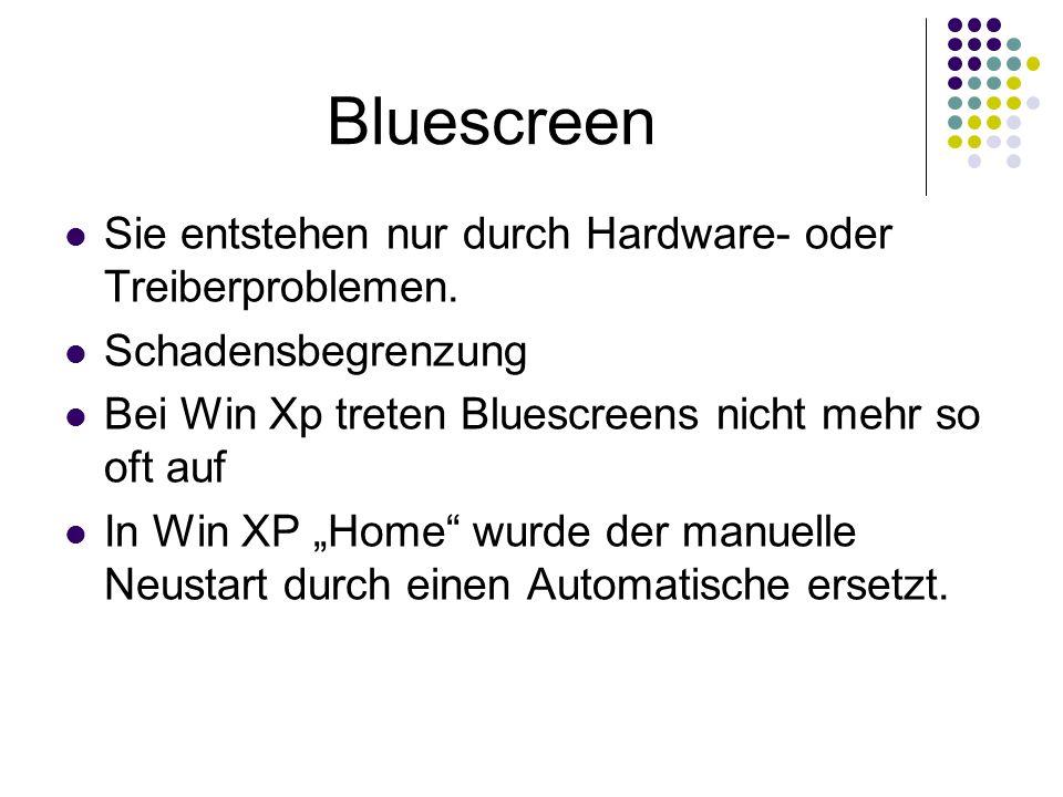 """Bluescreen Sie entstehen nur durch Hardware- oder Treiberproblemen. Schadensbegrenzung Bei Win Xp treten Bluescreens nicht mehr so oft auf In Win XP """""""
