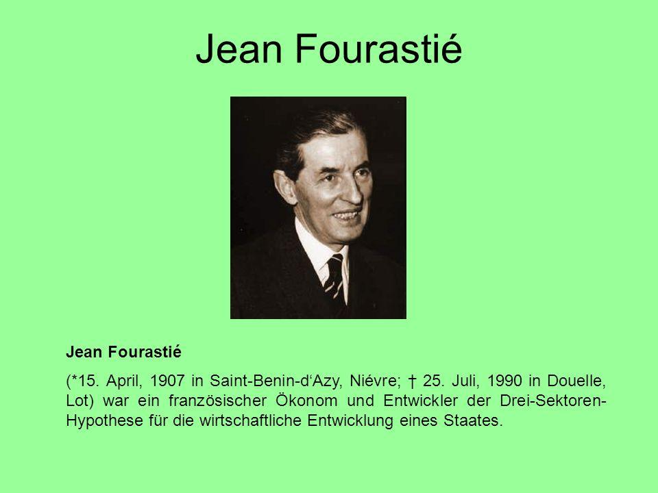 Jean Fourastié (*15. April, 1907 in Saint-Benin-d'Azy, Niévre; † 25. Juli, 1990 in Douelle, Lot) war ein französischer Ökonom und Entwickler der Drei-