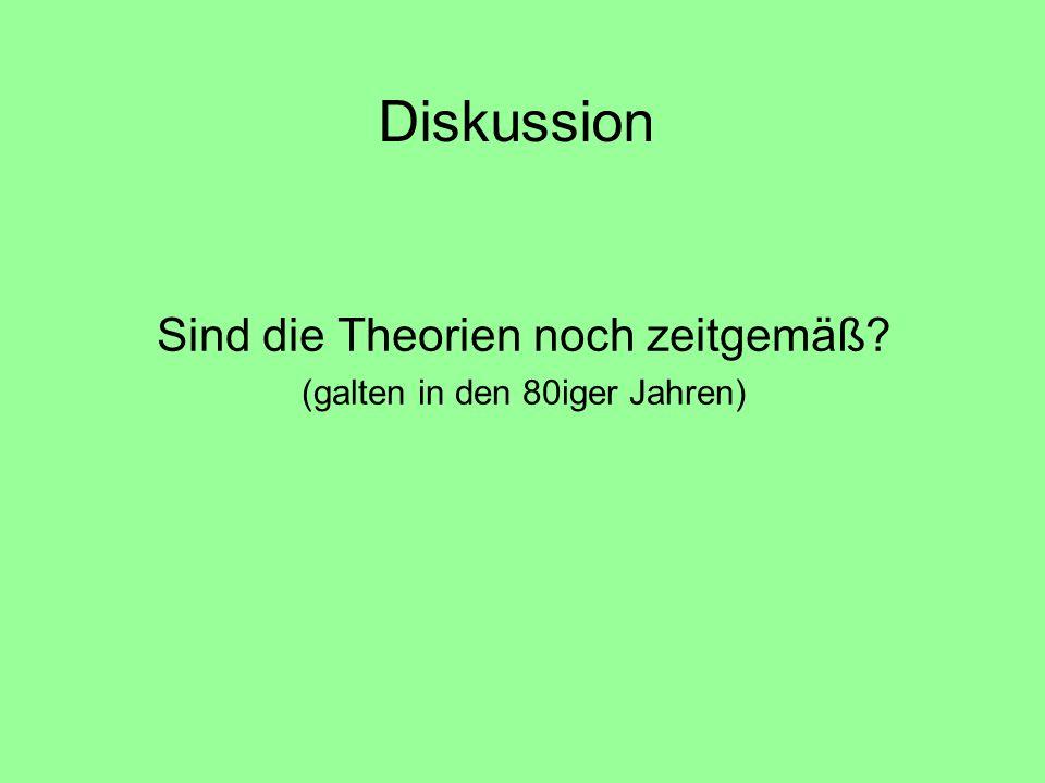 Diskussion Sind die Theorien noch zeitgemäß? (galten in den 80iger Jahren)