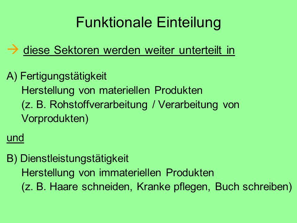 Funktionale Einteilung  diese Sektoren werden weiter unterteilt in A) Fertigungstätigkeit Herstellung von materiellen Produkten (z. B. Rohstoffverarb