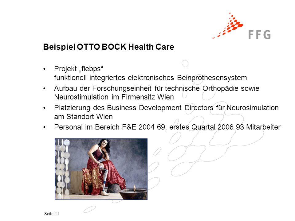 """Seite 11 Beispiel OTTO BOCK Health Care Projekt """"fiebps"""" funktionell integriertes elektronisches Beinprothesensystem Aufbau der Forschungseinheit für"""