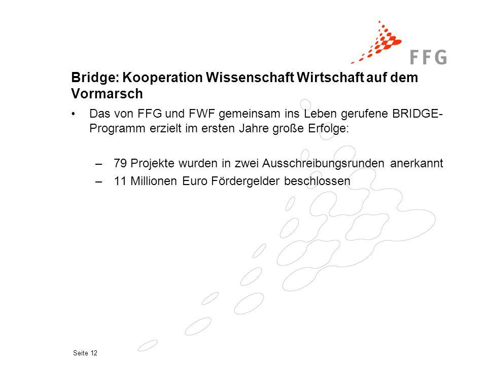 Seite 12 Bridge: Kooperation Wissenschaft Wirtschaft auf dem Vormarsch Das von FFG und FWF gemeinsam ins Leben gerufene BRIDGE- Programm erzielt im er