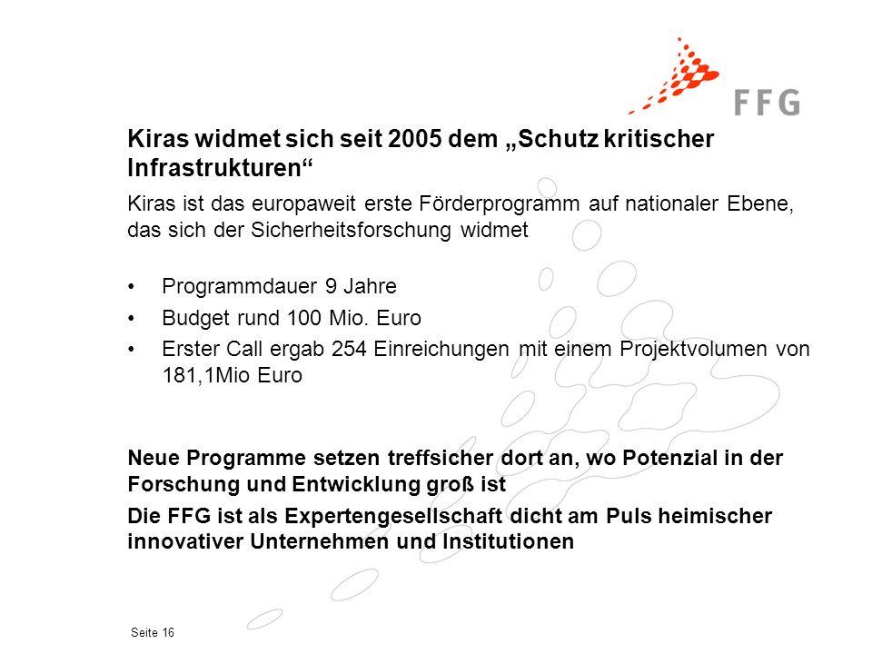 """Seite 16 Kiras widmet sich seit 2005 dem """"Schutz kritischer Infrastrukturen"""" Programmdauer 9 Jahre Budget rund 100 Mio. Euro Erster Call ergab 254 Ein"""