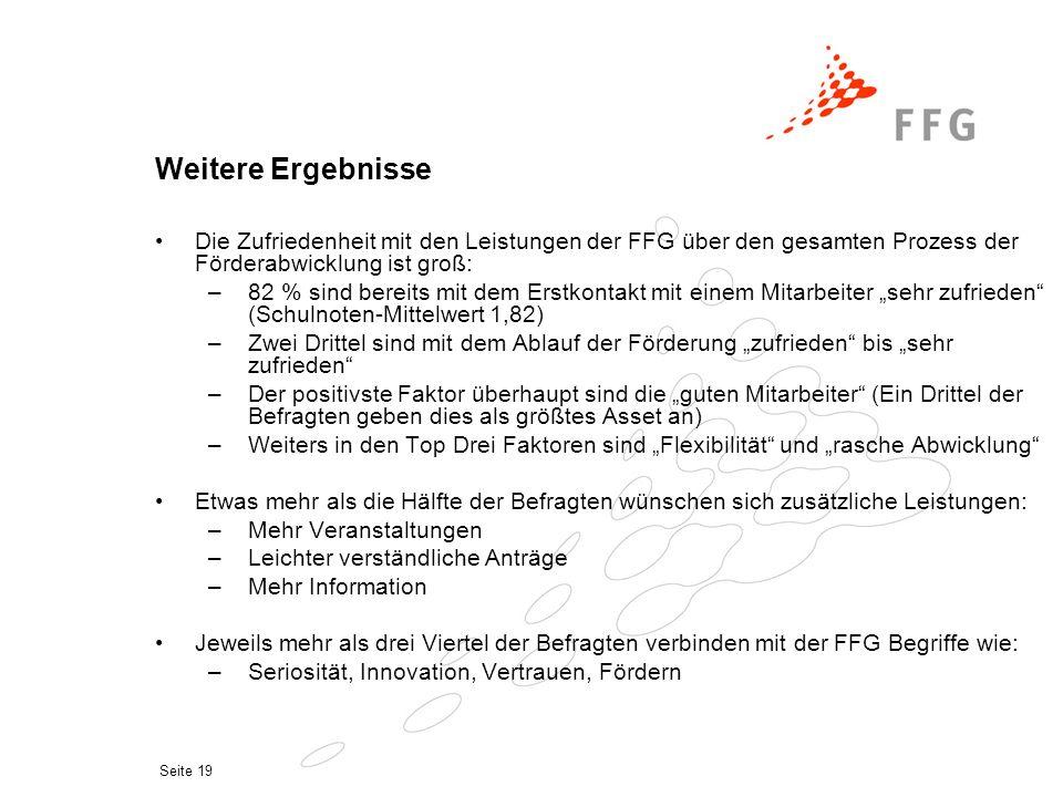 Seite 19 Weitere Ergebnisse Die Zufriedenheit mit den Leistungen der FFG über den gesamten Prozess der Förderabwicklung ist groß: –82 % sind bereits m