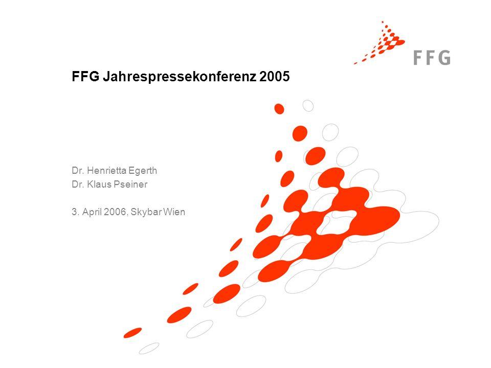 FFG Jahrespressekonferenz 2005 Dr. Henrietta Egerth Dr. Klaus Pseiner 3. April 2006, Skybar Wien