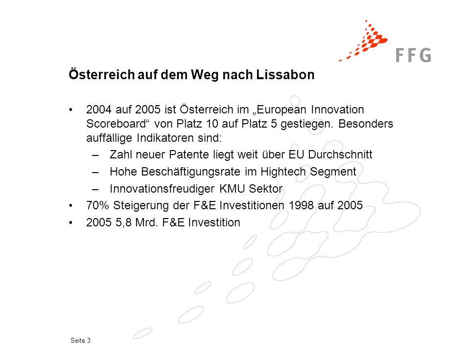 """Seite 3 Österreich auf dem Weg nach Lissabon 2004 auf 2005 ist Österreich im """"European Innovation Scoreboard"""" von Platz 10 auf Platz 5 gestiegen. Beso"""