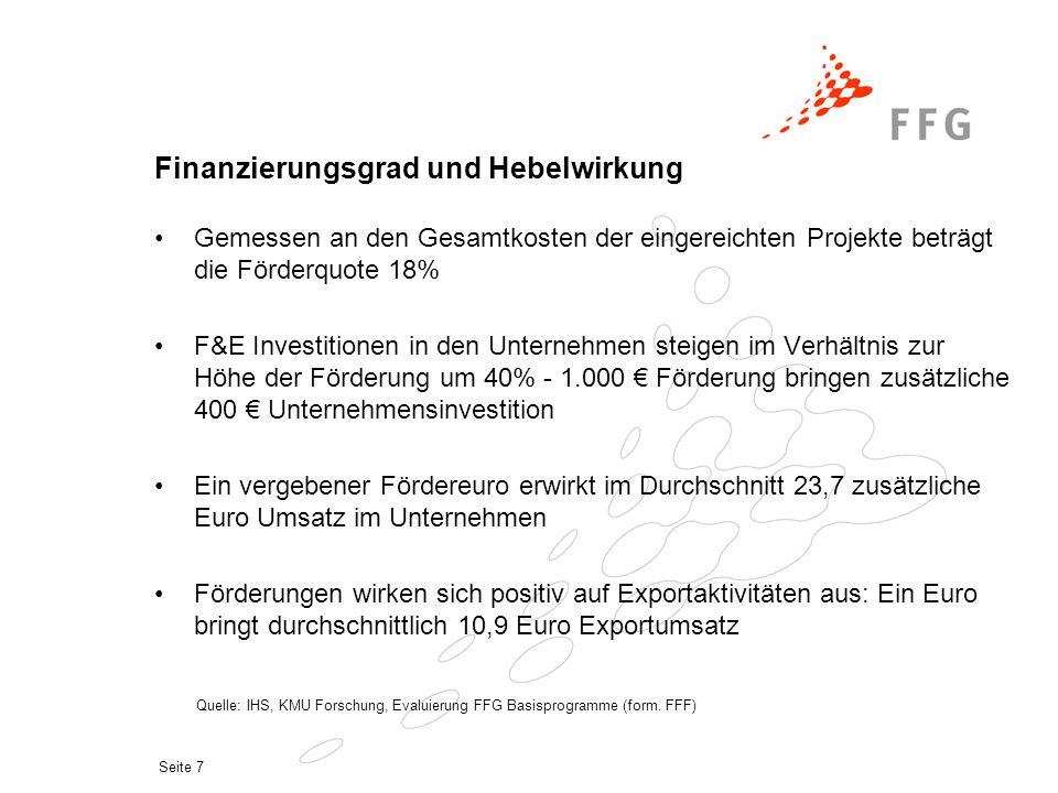 Seite 7 Finanzierungsgrad und Hebelwirkung Gemessen an den Gesamtkosten der eingereichten Projekte beträgt die Förderquote 18% F&E Investitionen in de