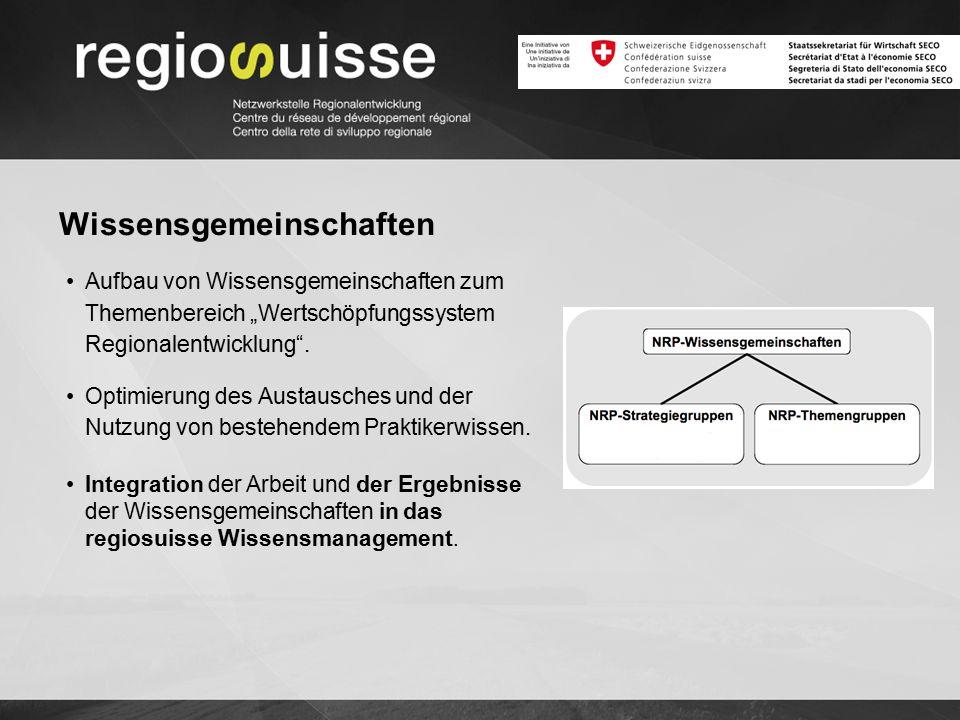 """Wissensgemeinschaften Aufbau von Wissensgemeinschaften zum Themenbereich """"Wertschöpfungssystem Regionalentwicklung"""". Optimierung des Austausches und d"""
