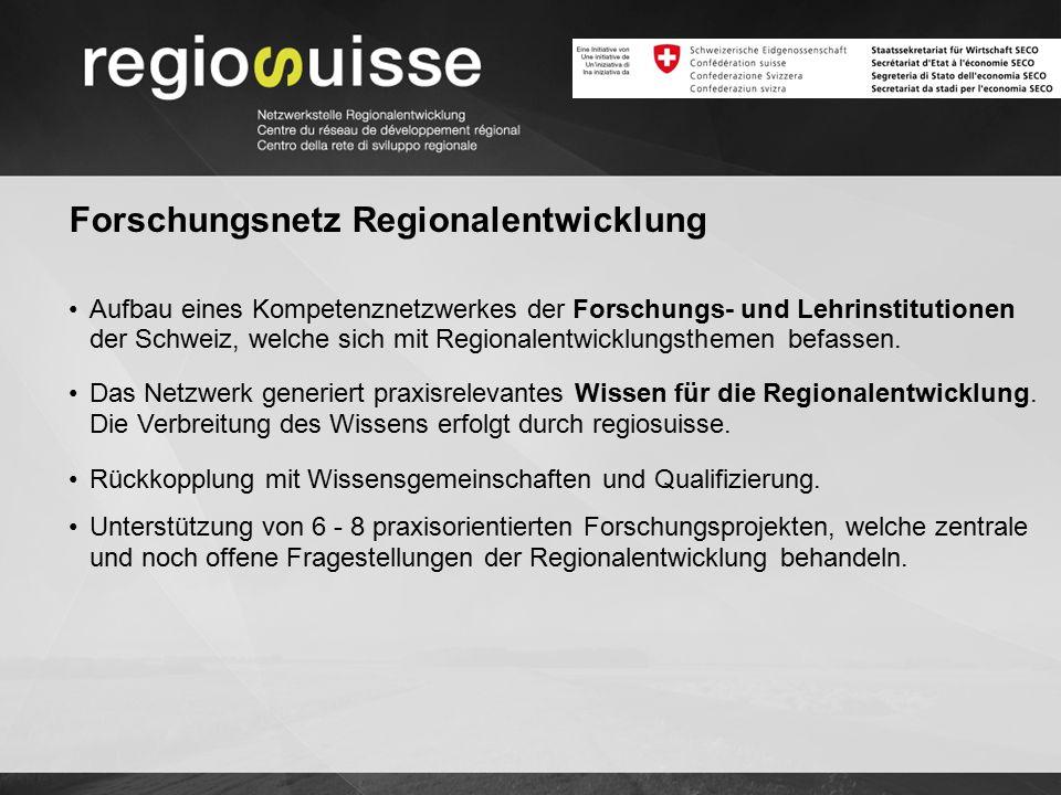 Forschungsnetz Regionalentwicklung Aufbau eines Kompetenznetzwerkes der Forschungs- und Lehrinstitutionen der Schweiz, welche sich mit Regionalentwicklungsthemen befassen.