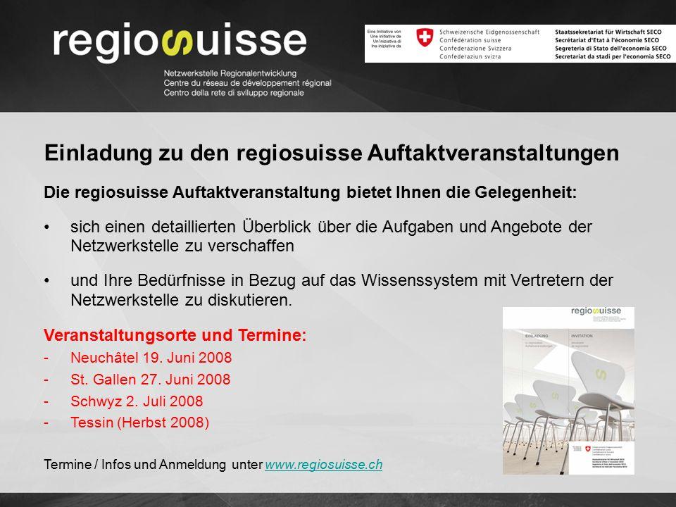 Die regiosuisse Auftaktveranstaltung bietet Ihnen die Gelegenheit: sich einen detaillierten Überblick über die Aufgaben und Angebote der Netzwerkstell