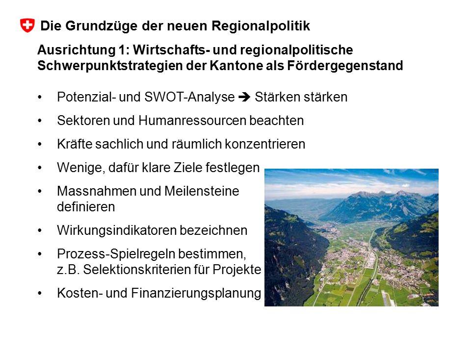 Ausrichtung 1: Wirtschafts- und regionalpolitische Schwerpunktstrategien der Kantone als Fördergegenstand Potenzial- und SWOT-Analyse  Stärken stärke