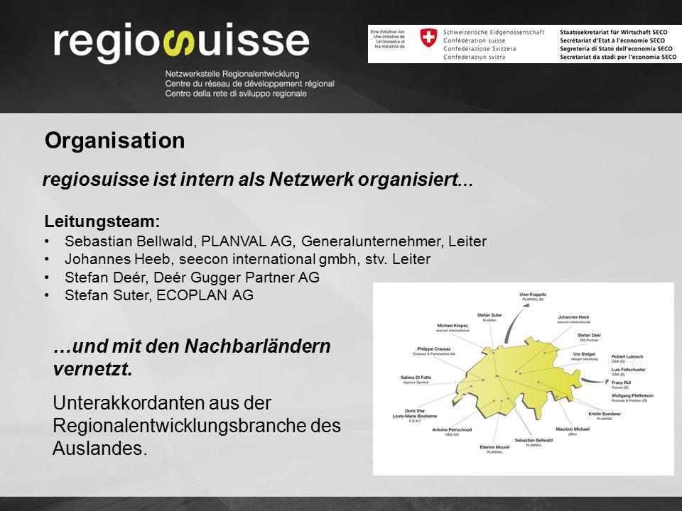 Organisation regiosuisse ist intern als Netzwerk organisiert … Leitungsteam: Sebastian Bellwald, PLANVAL AG, Generalunternehmer, Leiter Johannes Heeb, seecon international gmbh, stv.
