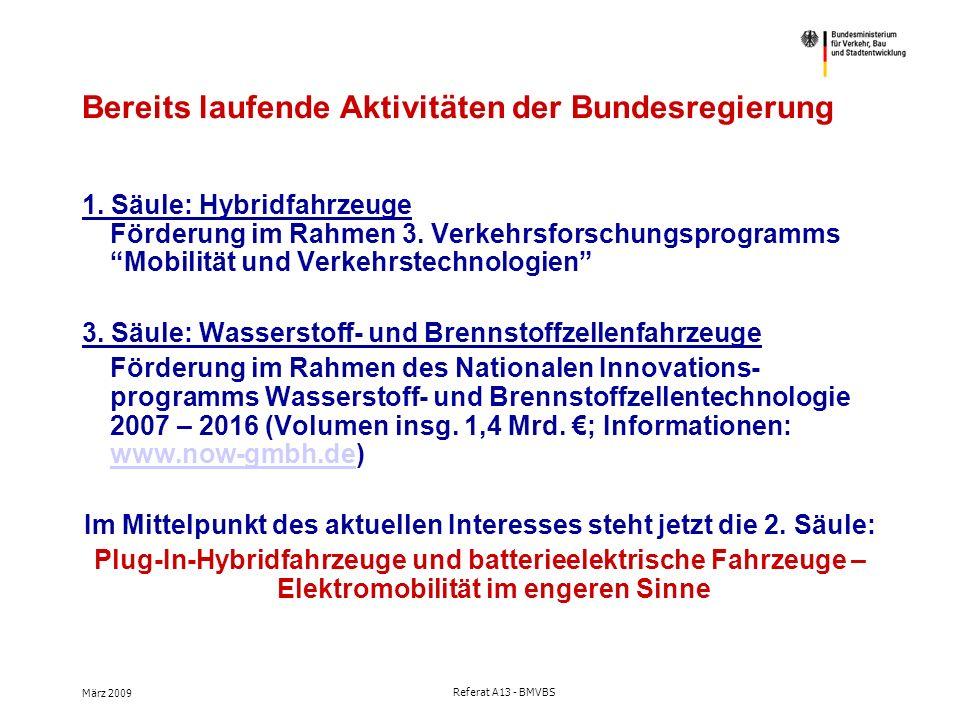 März 2009 Referat A13 - BMVBS Bereits laufende Aktivitäten der Bundesregierung 1.