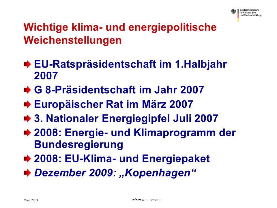 März 2009 Referat A13 - BMVBS Wichtige klima- und energiepolitische Weichenstellungen EU-Ratspräsidentschaft im 1.Halbjahr 2007 G 8-Präsidentschaft im Jahr 2007 Europäischer Rat im März 2007 3.