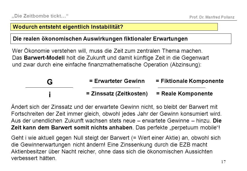 """""""Die Zeitbombe tickt…"""" Prof. Dr. Manfred Pollanz 17 G i = Erwarteter Gewinn = Zinssatz (Zeitkosten) = Fiktionale Komponente = Reale Komponente Wer Öko"""