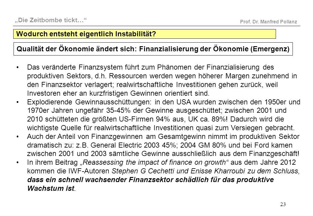 """""""Die Zeitbombe tickt…"""" Prof. Dr. Manfred Pollanz 23 Qualität der Ökonomie ändert sich: Finanzialisierung der Ökonomie (Emergenz) Das veränderte Finanz"""