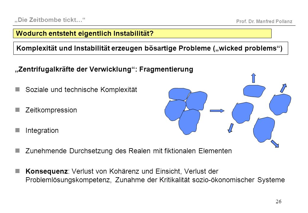 """""""Die Zeitbombe tickt…"""" Prof. Dr. Manfred Pollanz 26 Wodurch entsteht eigentlich Instabilität? """"Zentrifugalkräfte der Verwicklung"""": Fragmentierung Sozi"""