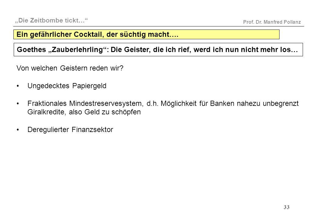 """""""Die Zeitbombe tickt…"""" Prof. Dr. Manfred Pollanz 33 Goethes """"Zauberlehrling"""": Die Geister, die ich rief, werd ich nun nicht mehr los… Von welchen Geis"""