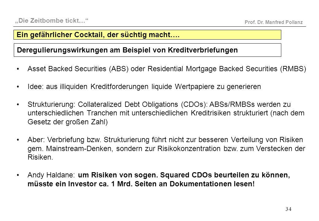 """""""Die Zeitbombe tickt…"""" Prof. Dr. Manfred Pollanz 34 Deregulierungswirkungen am Beispiel von Kreditverbriefungen Asset Backed Securities (ABS) oder Res"""