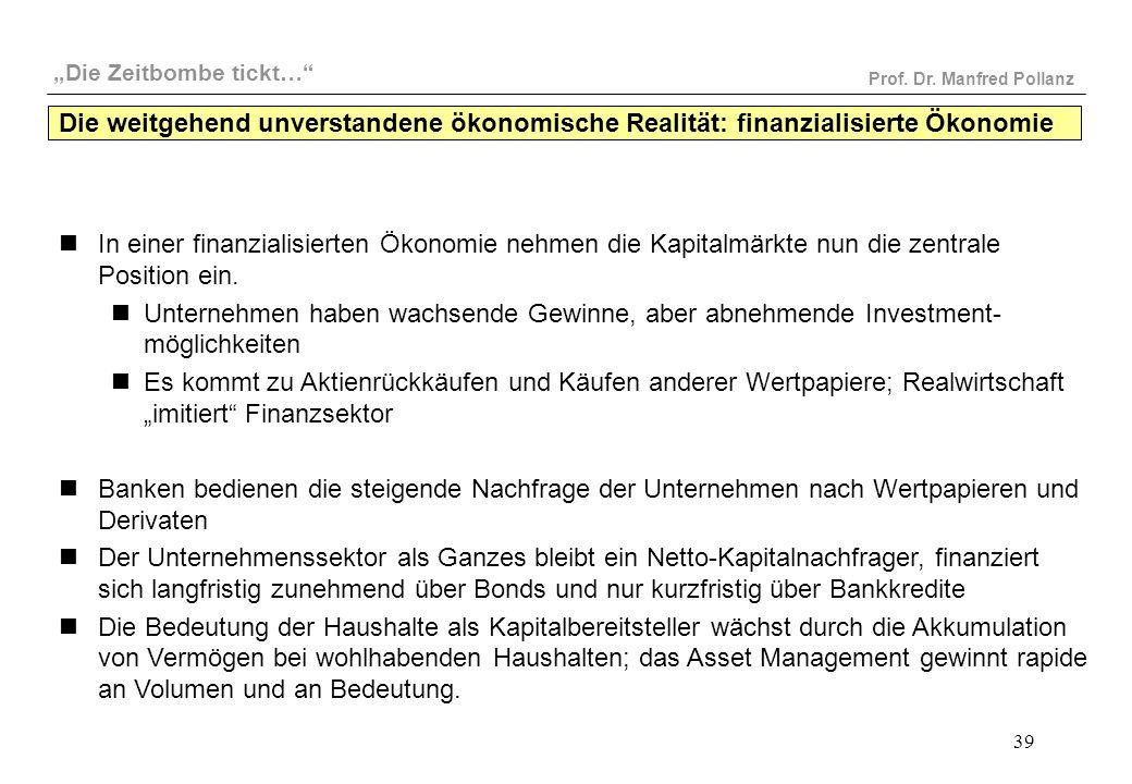 """""""Die Zeitbombe tickt…"""" Prof. Dr. Manfred Pollanz 39 In einer finanzialisierten Ökonomie nehmen die Kapitalmärkte nun die zentrale Position ein. Untern"""