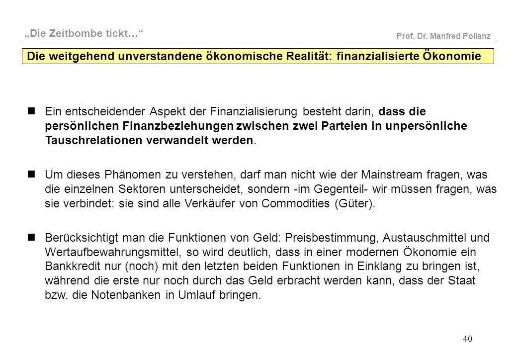 """""""Die Zeitbombe tickt…"""" Prof. Dr. Manfred Pollanz 40 Ein entscheidender Aspekt der Finanzialisierung besteht darin, dass die persönlichen Finanzbeziehu"""