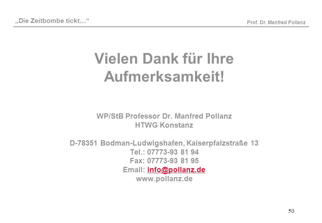"""""""Die Zeitbombe tickt…"""" Prof. Dr. Manfred Pollanz 50 Vielen Dank für Ihre Aufmerksamkeit! WP/StB Professor Dr. Manfred Pollanz HTWG Konstanz D-78351 Bo"""
