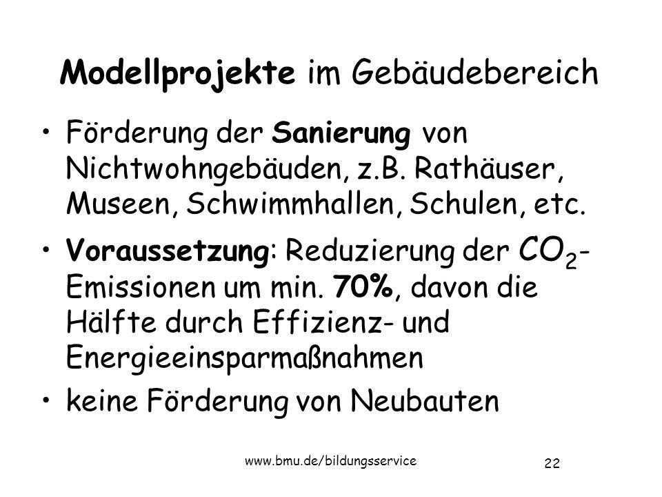 22 www.bmu.de/bildungsservice Modellprojekte im Gebäudebereich Förderung der Sanierung von Nichtwohngebäuden, z.B.