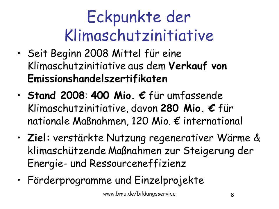 8 www.bmu.de/bildungsservice Eckpunkte der Klimaschutzinitiative Seit Beginn 2008 Mittel für eine Klimaschutzinitiative aus dem Verkauf von Emissionshandelszertifikaten Stand 2008: 400 Mio.