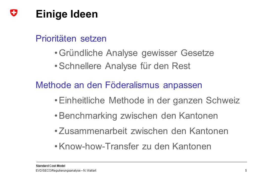 Standard Cost Model EVD/SECO/Regulierungsanalyse – N. Wallart 5 Einige Ideen Prioritäten setzen Gründliche Analyse gewisser Gesetze Schnellere Analyse