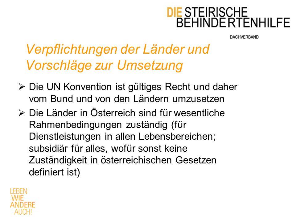 Verpflichtungen der Länder und Vorschläge zur Umsetzung  Die UN Konvention ist gültiges Recht und daher vom Bund und von den Ländern umzusetzen  Die Länder in Österreich sind für wesentliche Rahmenbedingungen zuständig (für Dienstleistungen in allen Lebensbereichen; subsidiär für alles, wofür sonst keine Zuständigkeit in österreichischen Gesetzen definiert ist)
