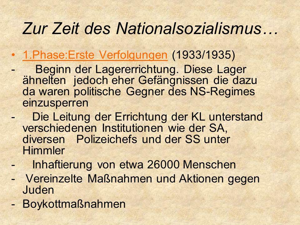Zur Zeit des Nationalsozialismus… 1.Phase:Erste Verfolgungen (1933/1935) - Beginn der Lagererrichtung.