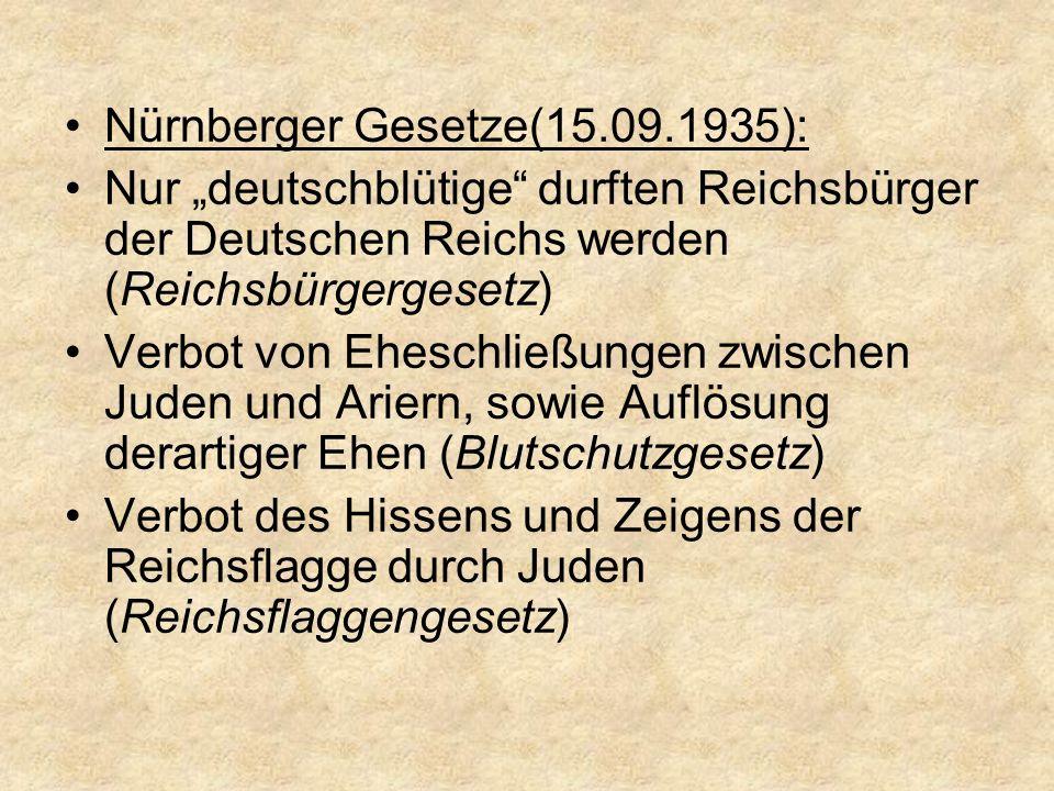 """Nürnberger Gesetze(15.09.1935): Nur """"deutschblütige durften Reichsbürger der Deutschen Reichs werden (Reichsbürgergesetz) Verbot von Eheschließungen zwischen Juden und Ariern, sowie Auflösung derartiger Ehen (Blutschutzgesetz) Verbot des Hissens und Zeigens der Reichsflagge durch Juden (Reichsflaggengesetz)"""