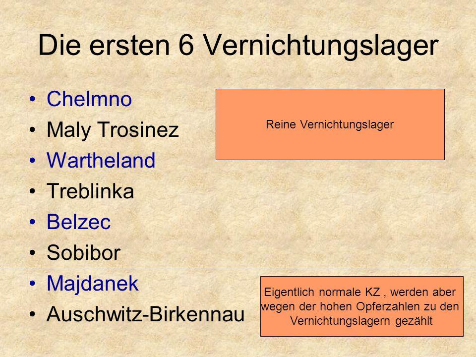 Die ersten 6 Vernichtungslager Chelmno Maly Trosinez Wartheland Treblinka Belzec Sobibor Majdanek Auschwitz-Birkennau Reine Vernichtungslager Eigentlich normale KZ, werden aber wegen der hohen Opferzahlen zu den Vernichtungslagern gezählt