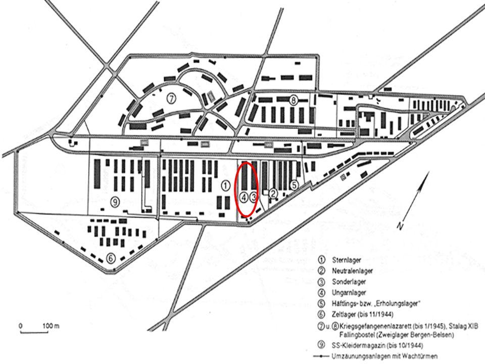 """Häftlingslager I ( """"Erholungslager ) Bestand von Anfang an Es diente zuerst der Unterbringung von etwas 500 Häftlingen des Baukommandos Ab März 1944 wurden hier kranke und arbeitsuntaugliche Häftlinge interniert."""