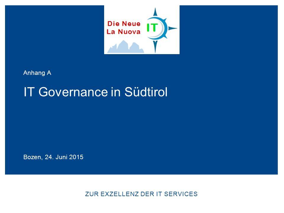 ZUR EXZELLENZ DER IT SERVICES IT Governance in Südtirol Bozen, 24. Juni 2015 Anhang A