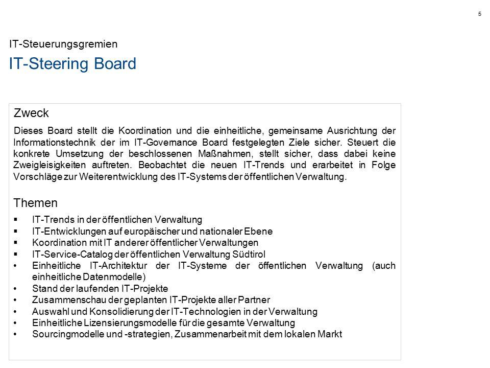 IT-Steering Board IT-Steuerungsgremien Zweck Dieses Board stellt die Koordination und die einheitliche, gemeinsame Ausrichtung der Informationstechnik der im IT-Governance Board festgelegten Ziele sicher.