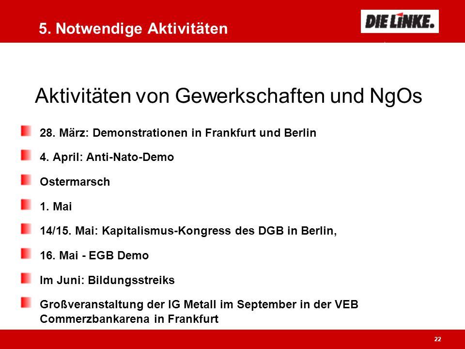 22 5. Notwendige Aktivitäten 28. März: Demonstrationen in Frankfurt und Berlin 4.