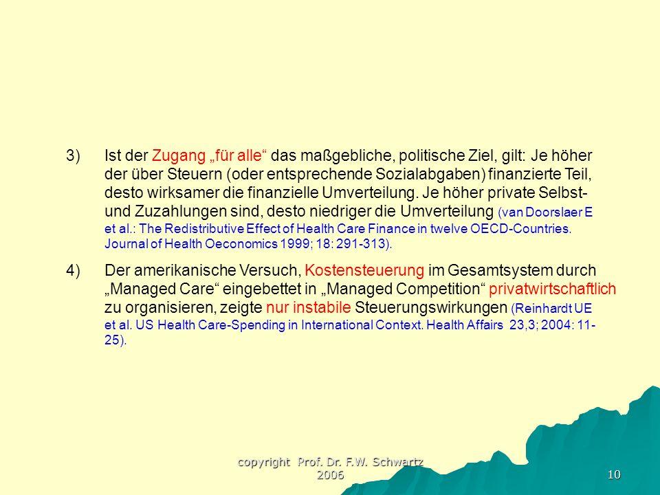 """copyright Prof. Dr. F.W. Schwartz 2006 10 3)Ist der Zugang """"für alle"""" das maßgebliche, politische Ziel, gilt: Je höher der über Steuern (oder entsprec"""