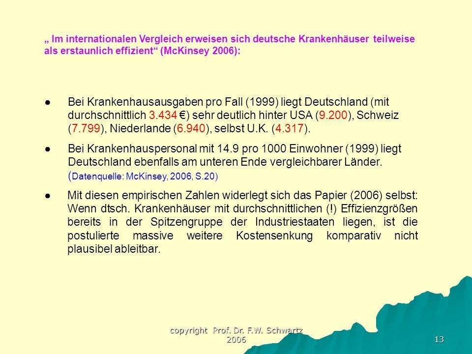 """copyright Prof. Dr. F.W. Schwartz 2006 13 """" Im internationalen Vergleich erweisen sich deutsche Krankenhäuser teilweise als erstaunlich effizient"""" (Mc"""