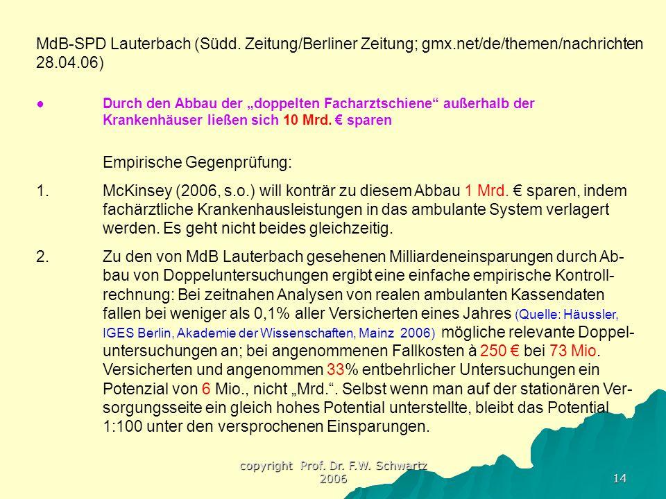 copyright Prof. Dr. F.W. Schwartz 2006 14 MdB-SPD Lauterbach (Südd. Zeitung/Berliner Zeitung; gmx.net/de/themen/nachrichten 28.04.06) ●Durch den Abbau