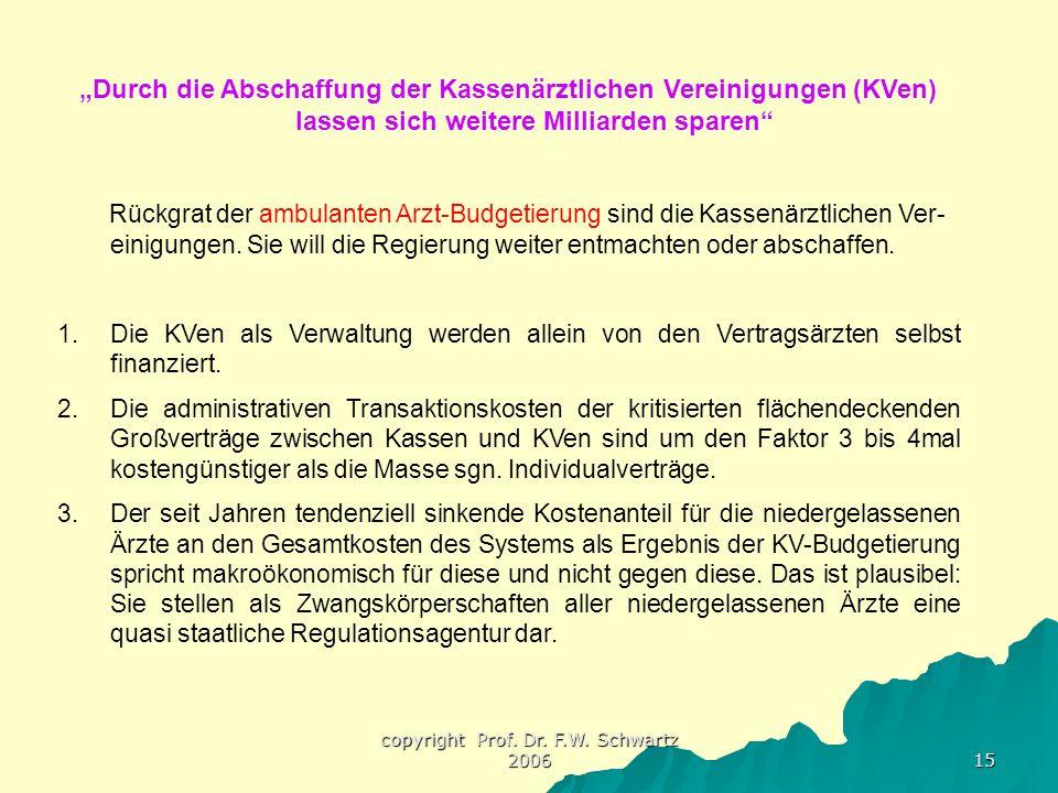 """copyright Prof. Dr. F.W. Schwartz 2006 15 """"Durch die Abschaffung der Kassenärztlichen Vereinigungen (KVen) lassen sich weitere Milliarden sparen"""" Rück"""