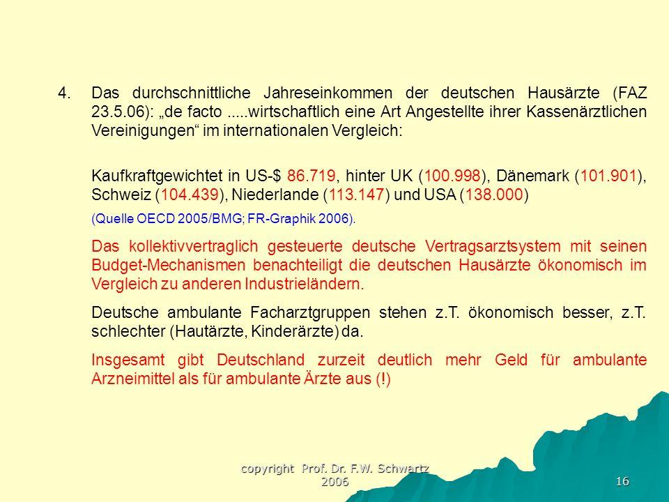 """copyright Prof. Dr. F.W. Schwartz 2006 16 4.Das durchschnittliche Jahreseinkommen der deutschen Hausärzte (FAZ 23.5.06): """"de facto.....wirtschaftlich"""